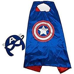 SquishyBean 1 juego de disfraz para niños con capucha y máscaras Captain AMERICA para disfraz de Capitán América, Vengadores, Captín y Amarica