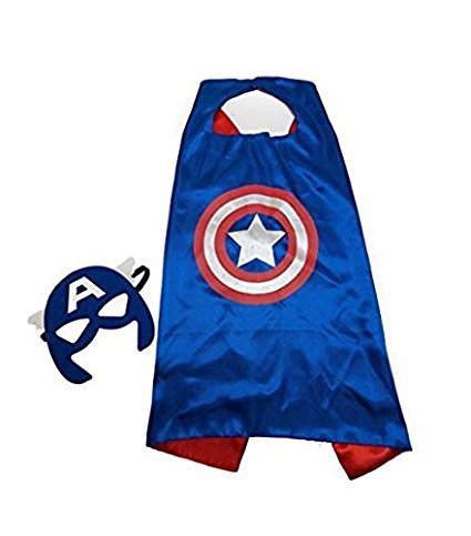 squishybean 1 Set Kinder Cape und Masken Captain America Kostüme Super Hero Kleid bis Captain America Kostüme Avengers Captain America Fancy Kleid