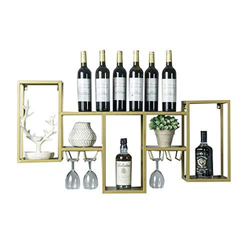 MoDi Kreative Schmiedeeisen Holz Weinregal Wand Weinregal Rack Bar Wanddekoration Weinschrank Wein Glas Rack