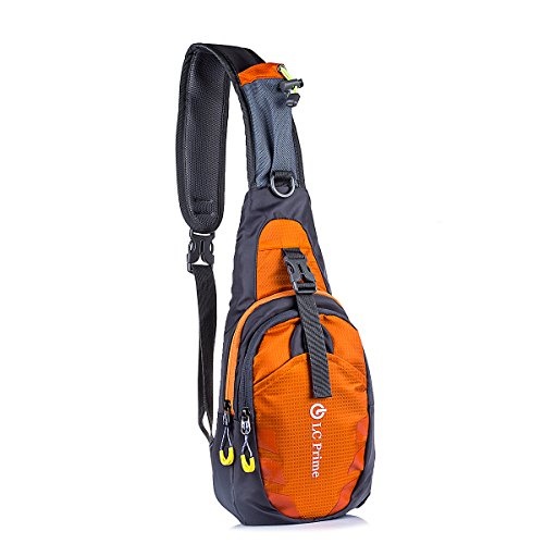 LC Prime Schleuder Tasche Chest Pack,Multiple Storage Zweck Umhängetasche Tragen Styles, für Outdoor Sportarten Reisen nylon fabric orange, by