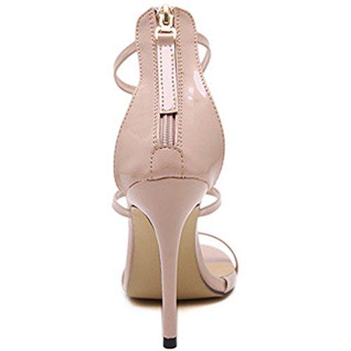 Oasap Women's Peep Toe High Heels Back Zip Sandals golden
