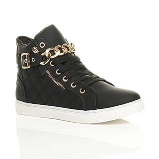 Ajvani Damen Goldkette Schnüren Steppmuster Hi-Top Sneakers Turnschuhe Größe 5 38