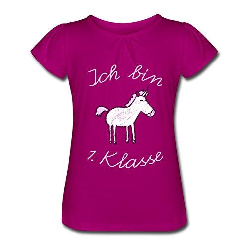 Spreadshirt Einschulung Ich Bin 1. Klasse Einhorn Mädchen-T-Shirt mit Raffungen