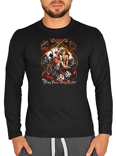 Langarm T-Shirt USA Biker Motiv sexy Biker Braut Bike Langarmshirt für Biker Rock Longshirt für Herren Männershirt Laiberl Leiberl Schwarz