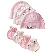 Gerber Baby Girls' 8-Piece Organic Cap and Mitten Set, bunny, Newborn