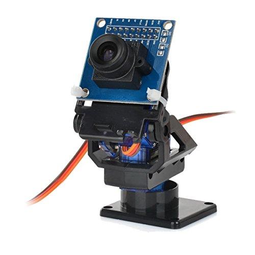 Für Arduino Kits Zubehör 2-Achs-FPV-Kamera-Cradle-Kopf + OV7670-Kamera-Set für Roboter/R/C-Auto - Schwarz + Blau