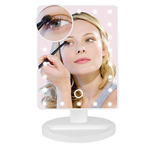 Jopee Makeup Spiegel mit 22 LED-Licht & Touchscreen Dimmbar mit abnehmbaren 10x Vergrößerungsspiegel für Badezimmer, Schlafzimmer, Tischplatte (Weiß), Valentinsgrußgeschenk