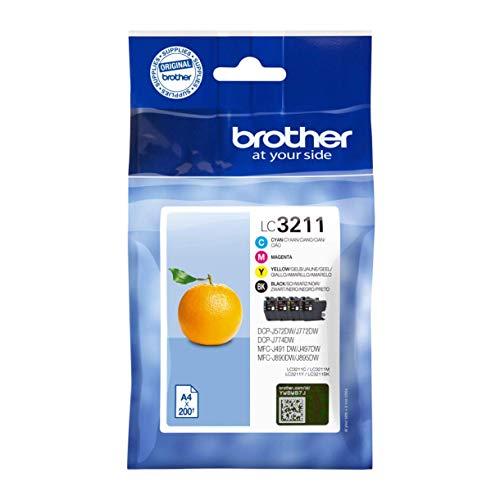 Brother LC3211VAL Juego de 4 cartuchos (Negro, Cian, Magenta y amarillo) para las impresoras DCPJ572DW, MFCJ491DW, MFCJ497DW,MFCJ890DW y MFCJ895DW duración hasta 200 páginas (según ISO/IE 24711)