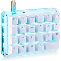 Koolertron Clavier Mécanique Macro Clavier de Jeu À Une Main Mini Clavier Gaming Portable avec 23 Touches Programmables Rétro-éclairage LED (Switche Rouge - LED Bleu)