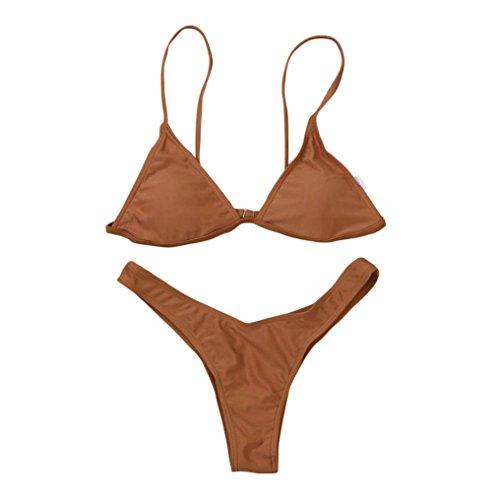 Femmes Maillot de bain,Xjp Couleur Unie Deux Morceaux Bikini Soutien-gorge Rembourré Push-up Marron