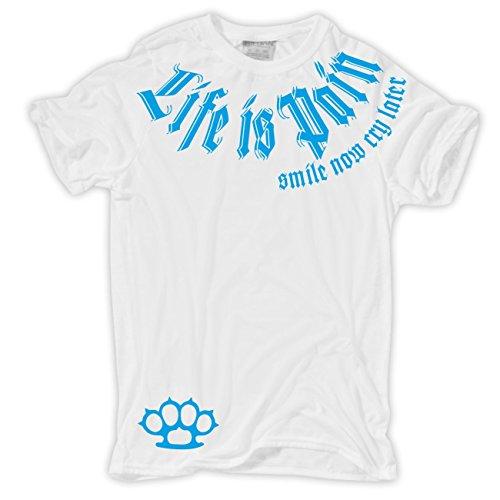 Männer und Herren T-Shirt Smile now Cry later (BLAUE Serie) mit Rückendruck Körperbetont weiß