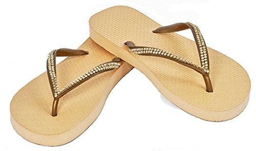 Designer Luxus Flip Flops-Chanclas by Simone Herrera-Slim Line-ROSA-Riemchen Sandale Zehentrenner dorado/sand