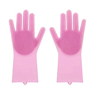 Reusable Silicone Gloves with wash Scrubber,AmaMary Magic Heat Resistant Cleaning Brush Gloves for Dish Wash Cleaning Pet Hair Care (Pink)