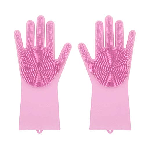 Magic Saksak Silicone Gloves,Eco-Friendly Scrubber Cleaning Gloves Heat Resistant for Multipurpose - Cleaning, Household, Dish Washing, Washing the Car and Pet Hair Care (Rosa) - Eco-friendly Hair Brush