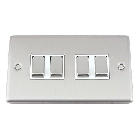 A5Interrupteur–Quad 4Gang 2Way–Satin Chrome brossé–Style Classique Insert Blanc en métal interrupteur à
