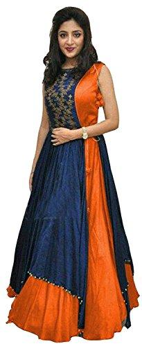 Reeva Trendz Women's Tassar Silk Anarkali Gown (Orange_Orange_Free Size)