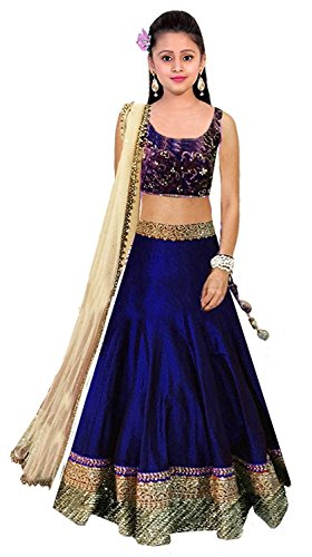 MEGHALYA Kids Wear Blue Color Designer Raw Silk Embroidered Baby Lehenga Choli...