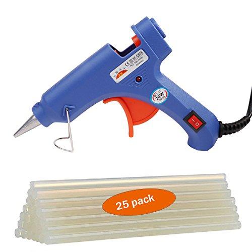 Heißklebepistole Klebepistole mit 25 Stücke, Klebepistolen Set für Schule DIY Kunst und Handwerksprojekte, Hausreparaturen(blau, 20 Watt)
