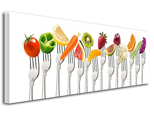 Declina, Tableau décoratif, Toile Murale, Tableau Salon Cuisine Deco,Cadre déco Cuisine bouchées gourmandes 120x50 cm Multicouleur
