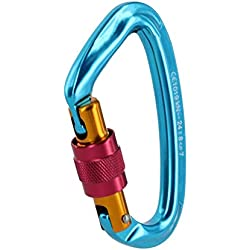 Trifycore Mountaineering Climbing Screw Lock D-Shaped Auto Locking Twist Carabiner Clip Hiking Screwgate Outdoor Sport Tools Blue, Climbing Screw Lock