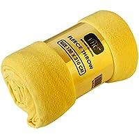 EHC Manta polar Super suave manta polar manta de sofá (térmica, color amarillo, único, 130x 210cm