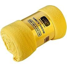 EHC–Manta polar Super suave manta polar manta de sofá (térmica, color amarillo, único, 130x 210cm