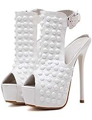 Bomba 16cm Estilete 4,5cm Plataforma Remaches Slingback Zapatos de boda Zapatos De Vestir Mujer Encantador Peep Toe Correa de tobillo Club nocturno Punk Zapatos de fiesta Tamaño de la UE 34-40 , white , 36