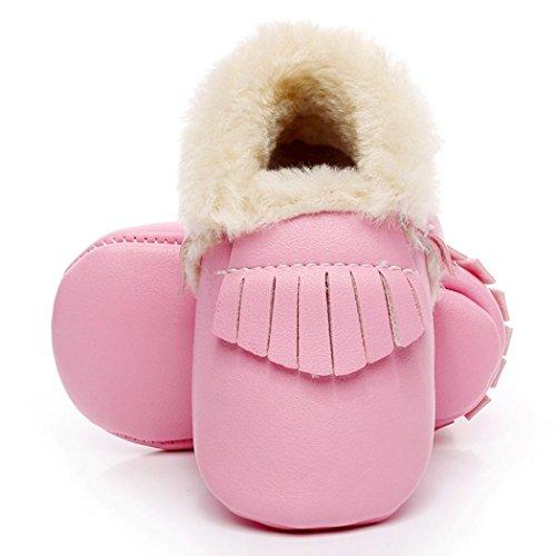 Hunpta Baby Schneestiefel weiche Sohle weiche Krippe Schuhe Kleinkind Stiefel (Alter: 12 ~ 18 Monate, Gelb) Rosa