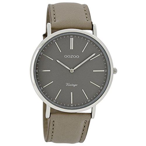 Oozoo Unisex Datum klassisch Quarz Uhr mit Leder Armband C7331