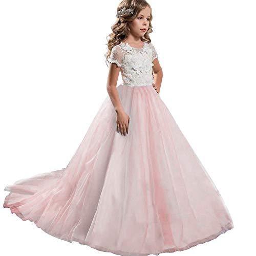 NNJXD Mädchen Spitze Tüll Gestickte Prinzessin Prom Ballkleid Formale Partei Lang Schwanz Kleider Größe (170) 13-14 Jahre Rosa