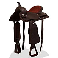 "Tidyard Western Saddle Horse Saddle Real Leather Saddle with Headstall & Breast Collar 17"" Brown"