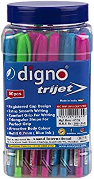 Digno Trijet Ball Pen (50 Pens Jar - Blue)|Comfort & Extra Smooth Writing Ball