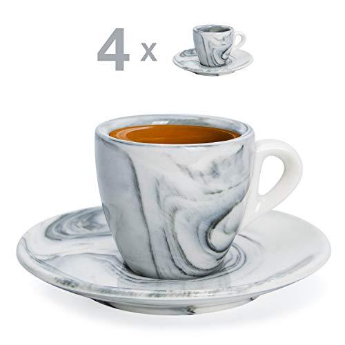 Hausmann & Söhne Espresso Tassen dickwandig | Set 8-TLG | 4er Set Schwarze Marmor Tassen mit Untertassen | Porzellan | Tasse 80ml | Espresso Tassen Set mit Untersetzer | Geschenkidee