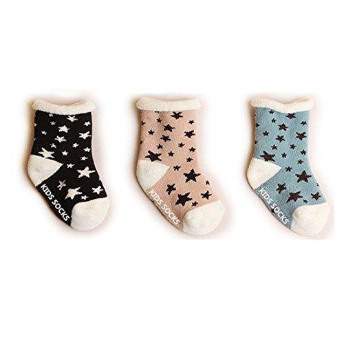 VWU Baby Mädchen Jungen Socken Erstlingssöckchen Anti Rutsch Infant Stern Dicke Baumwolle 3er Pack 0-1/1-3 Jahre (1-3 Jahre)