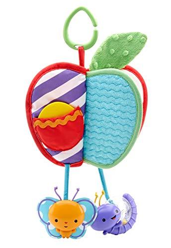 Fisher-Price Ma Pomme d'Éveil livre bébé avec peluche texturée, anneau de dentition oiseau, miroir et hochet escargot, dès la naissance, DFP88