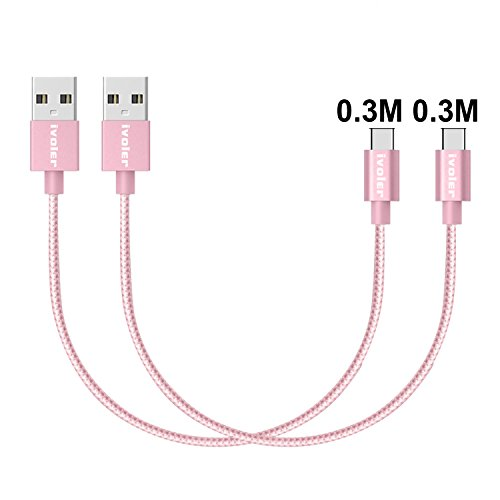 iVoler [2 Stücke:0.3m*2] USB C Kabel auf USB 3.0 A, Nylon Aluminiumgehäuse 56k ohm Type C Ladekabel Datenkabel für USB Typ-C Geräte Inklusive Samsung Galaxy S8/S8+/A3 2017/A5 2017, Huawei P10/P10 Plus/P9/P9 Plus/Honor 9/8, LG G6/G5, Asus Zenfone 3, Nexus 6P/5X, Oneplus 2/3/5, Xiaomi Mi 5/6, Nintendo Switch, des neuen MacBook 12'', MacBook Pro 2016,ChromeBook Pixel, Nokia N1 Tablet, Handy,Tablet und andere Type-C Unterstützte Geräte (Rosa Gold)