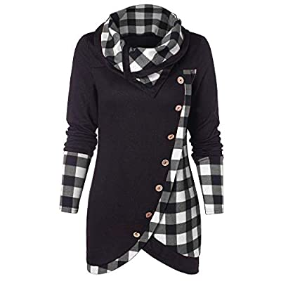 Women Tops Long Sleeve Plaid Button Turtleneck Tartan Tunic Sweatshirt Ladies Jumpers Dressy Roll Neck : everything five pounds (or less!)