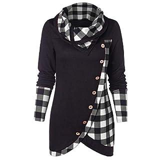Pullover Damen, Räumungsverkauf Bluse Frauen Lange Ärmel T-Shirt Plaid Turtleneck Tartan Tunic Elegant Tops Poloshirt Sweatshirt Oberteil (Schwarz, 40)