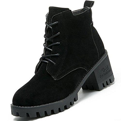 Hsxz Femmes Nubuck Cuir Chaussures Hiver Combat Bottes Chunky Bottes Bout Rond Perles Mi-mollet Pour Casual Brown Noir Armée Vert Brun