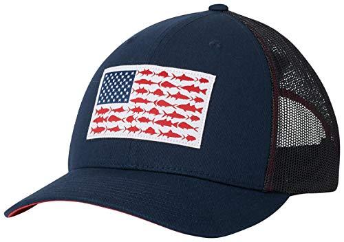 Columbia Unisex PFG Mesh Snap Back Fish Flag Ball Cap, Collegiate Navy, Sunset Red, One Size (Ball Cap Navy)