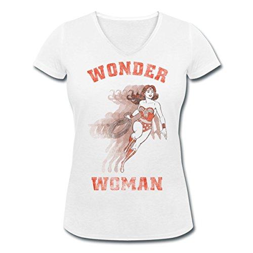 DC Comics Originals Wonder Woman Lasso Rétro T-shirt col V Femme de Spreadshirt® Blanc