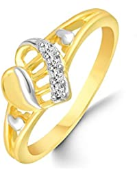 Classic Double Heart Diamond Studded Gold Plated Alloy Cz American Diamond Finger Ring For Women & Girls [CJFR1279G]