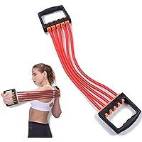 ChirRay Extensor de pecho ajustable de 5 muelles de látex para entrenamiento muscular para mujeres y niños