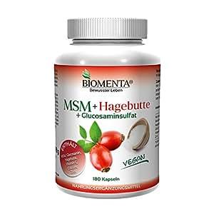 BIOMENTA MSM Schwefel + Hagebuttenpulver + Glucosamin   180 MSM Kapseln hochdosiert u. VEGAN   Gelenkkapseln bei Gelenk Schmerzen – Anti Pickel Tabletten bei Akne   bei Allergien u. unreine Haut