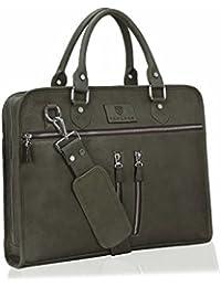 Tan Luzo 15.6 Inch Pure Leather Black Colour Multi Pocket Office Laptop Bag CaseÂ