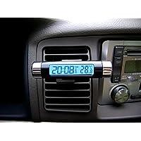 Goliton? Salida de aire Tipo Clip Auto Car reloj electr¨®nico de la temperatura Term¨®metro Medidor