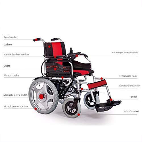 41ufILEWG5L - WJUAN Silla De Ruedas Eléctrica Ancianos Discapacitados Scooter Inteligente Completamente Automático Ligero Plegable Vehículo Eléctrico De Cuatro Ruedas