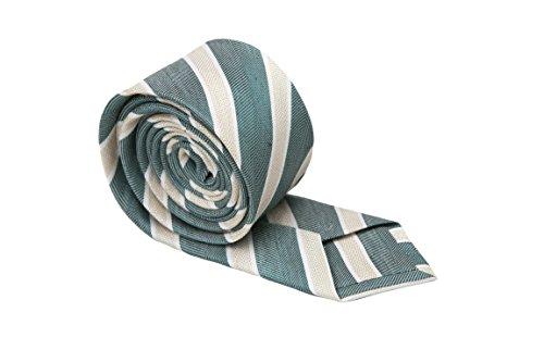 Notch Schmale Krawatte aus Leinentuch für Herren - Weißgerahmte Streifen auf dunkelgrünem Fischgrätenmuster