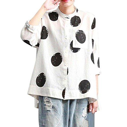 BHYDRY Frauen Plus Size Langarm Knopf Tasche Casual Tops Shirt Lose Bluse (5XL,Weiß)