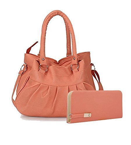 SAEMPIRE Premium PU Leather Women's And Girl's Handbag And Wallet Clutch Combo (Peach Color) (67)